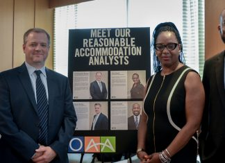 HR/OAA/DRAD's reasonable accommodations analysts are ready to answer questions during an event. State Department photo