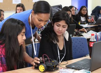 Intel partners with the Department to provide girls in the Women in Science program with an education in robotics, drones and app development. Photo courtesy of Girl Up