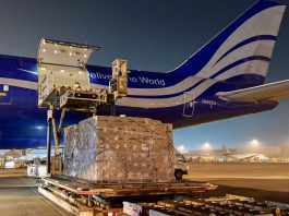 Several tons of PPE are loaded onto a plane in South Korea bound for the United States. Photo courtesy of Embassy Seoul