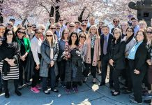 Assistant Secretary Ellen McCarthy (center in pink jacket) and members of the Bureau of Intelligence and Research (INR) during their annual Cherry Blossom Walk in Washington, 2019. Photo courtesy of INR