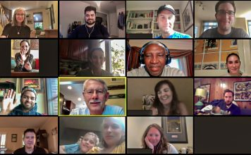 The F-DATA team and other F colleagues attend a virtual farewell gathering for former Managing Director for Planning, Performance, and Systems Gordon Weynand (third row down, second from left), July 29. Photo by Amin Vafa