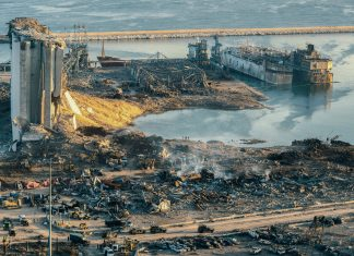 An aerial view is shown of the Beirut Port, completely destroyed. Photo by diplomedia