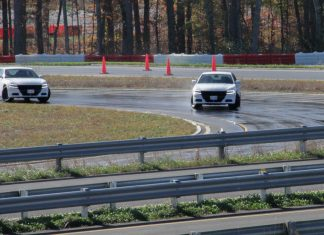 The three high-speed driving tracks at the Diplomatic Security Service's (DSS') FASTC allow for DSS special agents to learn, practice, and apply defensive and counterterrorism driving maneuvers, Nov. 13, 2019. State Department photo