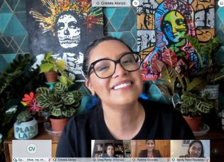 Actress Cristela Alonzo speaks with a virtual audience during a HECFAA-sponsored panel event in honor of Hispanic Heritage Month, Oct. 20. Photo by Camelia Valldejuly