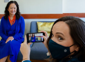 Rita A.B. Rico (right) directs a video for the Reimagine Task Force featuring Bureau of Western Hemisphere Affairs Principal Deputy Assistant Secretary Julie Chung in her office, Nov. 6. Photo by Amanda J. Richard