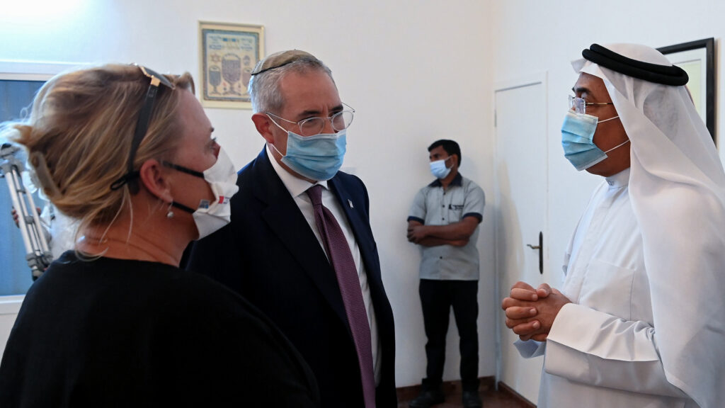 From left: Karin Ehlert, public affairs officer, the Honorable Paul Packer, U.S. Commission for the Preservation of America's Heritage Abroad, and Dr. Shaikh Khalid bin Khalifa Al Khalifa, director of the King Hamad Global Centre for Peaceful Coexistence, visit the synagogue in Manama, Bahrain. Photo by Matty Stern