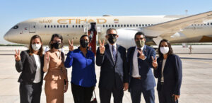 Embassy staff wishes peace to the first official Emirati delegation to Israel as the Etihad flight departs for Tel Aviv, Oct. 20. Photo courtesy Embassy Abu Dhabi