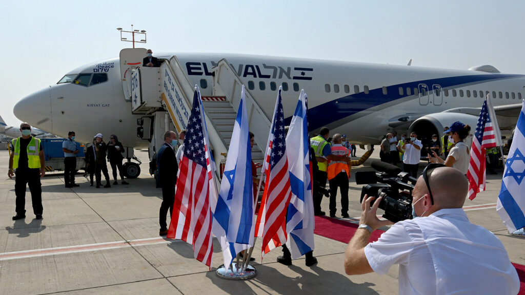 The first direct El Al flight to Abu Dhabi, United Arab Emirates, prepares to depart Ben Gurion Airport, Aug. 31. Photo by Matty Stern