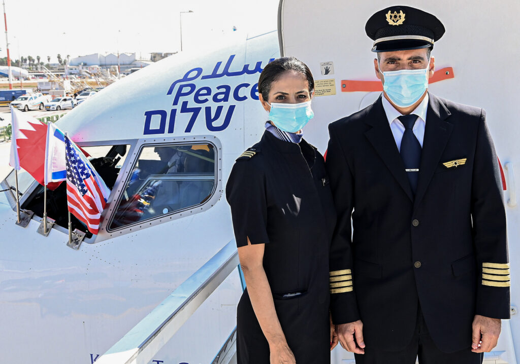 An El Al crew member and pilot prepare for the first commercial flight to Manama, Bahrain, Oct. 18. Photo by Matty Stern