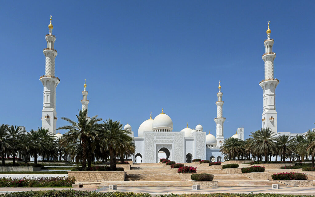 Emirati hosts arranged for Israeli media to visit the Sheikh Zayed Grand Mosque in Abu Dhabi on Sept. 1. Photo by Matty Stern
