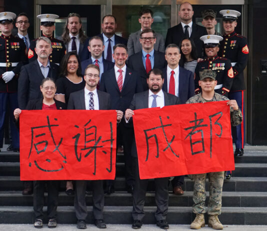 ConGen Chengdu's American staff thanked the city of Chengdu on the final day of consulate operations, July 27, 2020. Photo by ConGen Chengdu