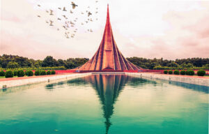 Birds fly over the national Martyrs' Memorial in Dhaka. Photo by Social Media Hub