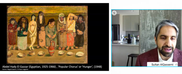 Sultan Sooud Al Qassemi discusses political undertones of iconic artworks of the 20th century in the Arab world, during an Arab Americans In Foreign Affairs Agencies (AAIFAA)-hosted virtual event in honor of National Arab American Heritage Month, April 14. Screenshot courtesy of AAIFAA